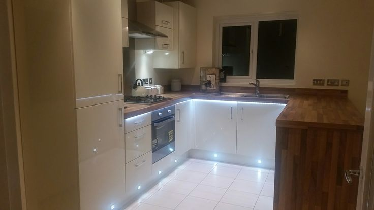 Harron Homes Coverham house style kitchen with added under counter, under cupboard and plinth lights