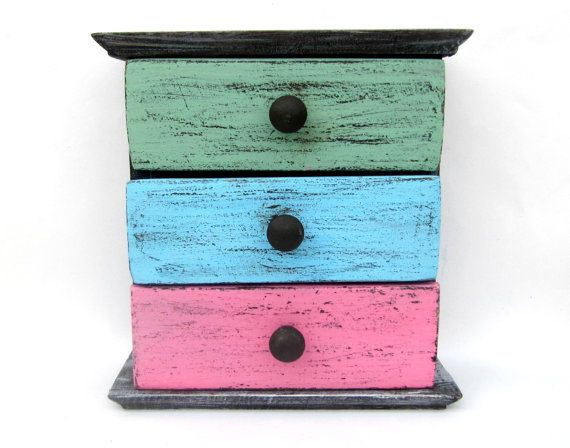 Colorful  distressed wooden drawers box  craft by ArtandWoodShop