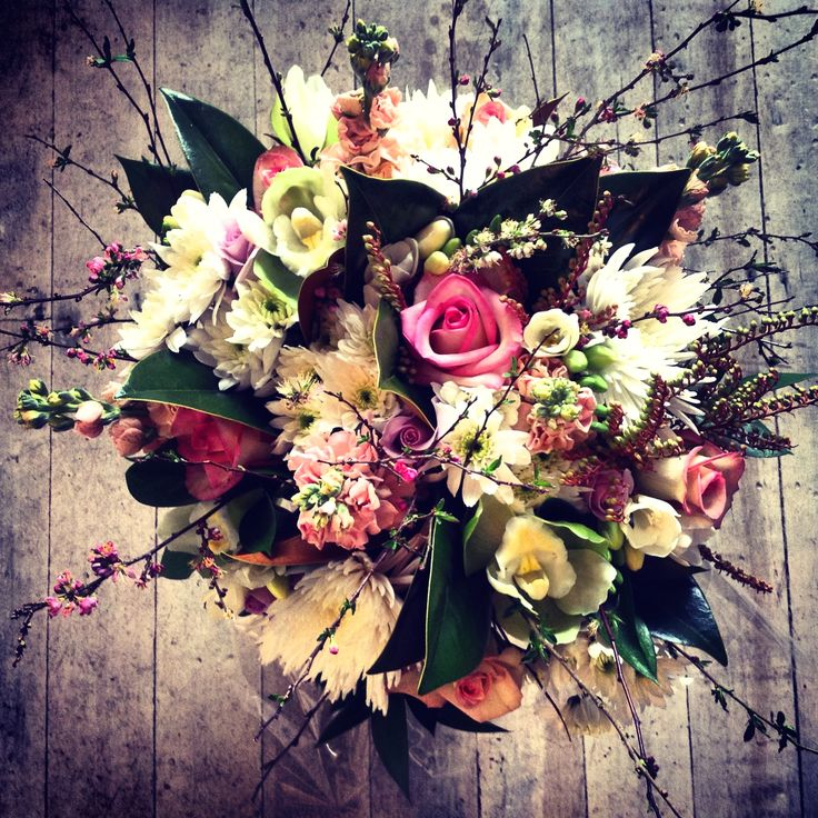 Rustic twig and blossom bouquet.