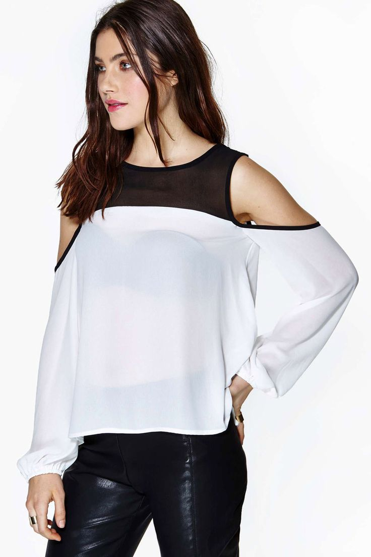White Off the Shoulder Contrast Black Chiffon Blouse - Fashion Clothing, Latest Street Fashion At Abaday.com