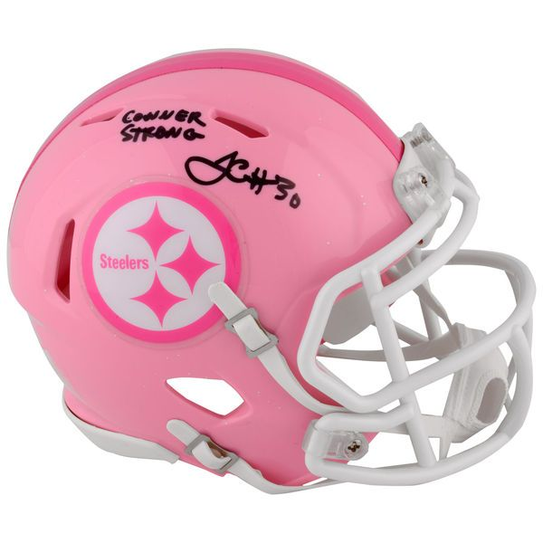 """James Conner Pittsburgh Steelers Fanatics Authentic Autographed Riddell Pink Mini Helmet with """"Conner Strong"""" Inscription - $89.99"""