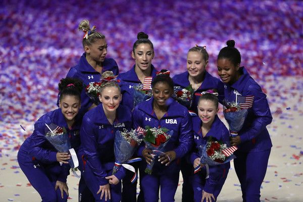 (L-R) (Front Row:) Lauren Hernandez, MyKayla Skinner, Simone Biles, Ragan Smith (Back Row) Ashton Locklear, Alexandra Raisman, Madison Kocian, and Gabrielle Douglas pose for a team photo after they were selected for the Olympic Team following Day 2 of the 2016 U.S. Women's Gymnastics Olympic Trials at SAP Center on July 10, 2016 in San Jose, California.