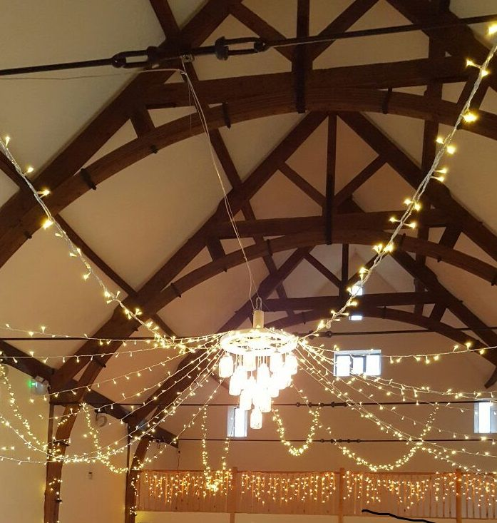 Our stunning fairy light canopy with rustic chandelier installed at the lovely @longfurlongbarn.  If you are after fairy light decorations for your wedding or event.  Get in touch.