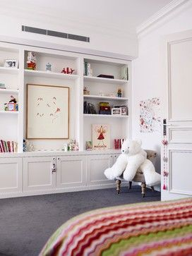Using a kitchen pantry wall for bedroom storage. Nice idea.