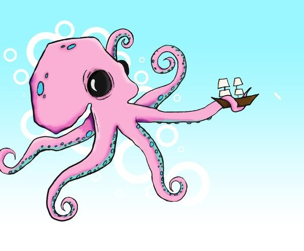 Pink cartoon octopus with a ship,  #cartoon #cartoonOctopusTattoo #Octopus #pink #Ship
