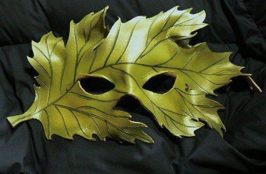 Green Oak Leaf handmade leather mask by frogwork on Etsy, $65.00: