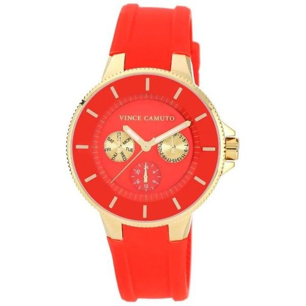 Vince Camuto Red Womens Red Dial Multi Function Watch - Women's (375 BRL) ❤ liked on Polyvore featuring jewelry, watches, red, enamel jewelry, vince camuto, red wrist watch, red watches and vince camuto jewelry