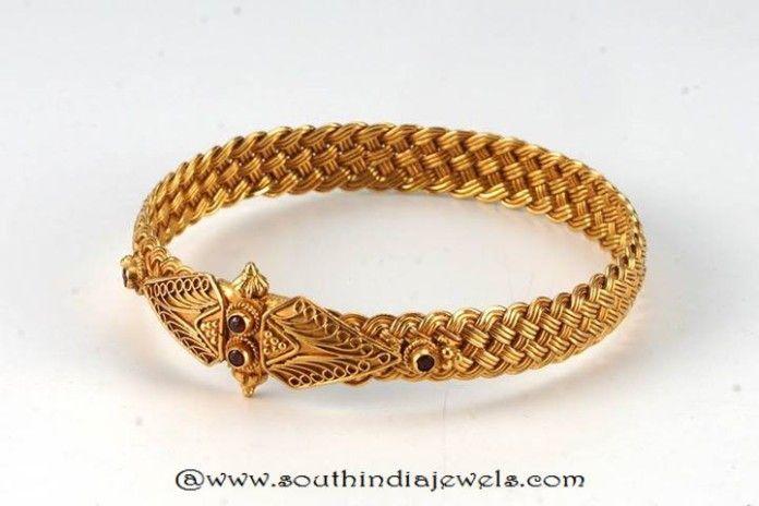 Gold Antique Kada Bangle From Amarsons
