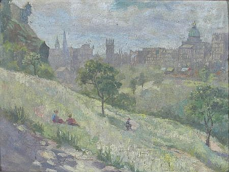 ALICE MAY COOK (SCOTTISH 1876-1960) PRINCES STREET FROM THE GARDENS 23cm x 32cm (8.5in x 12.5in) http://www.invaluable.com/auction-lot/alice-may-cook-scottish-1876-1960-princes-stree-109-c-ff837db405