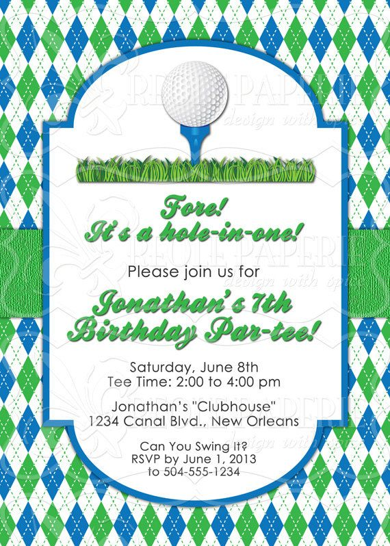 Golf Birthday Invitation By Creolepaperie