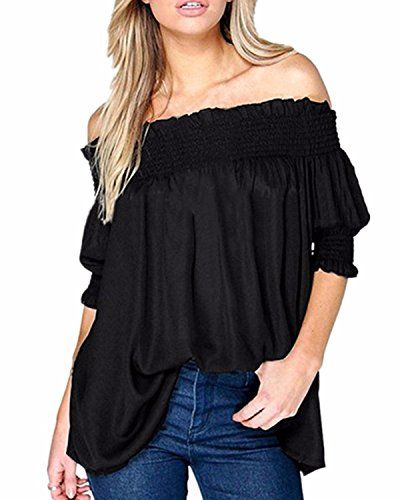 ZANZEA Women's Plus Size Chiffon Boho Off Shoulder 3/4 Sleeve Top Blouse T Shirt Black US 14-16/ASIAN XL. Size Details: Please check our size chart image at the left photo gallery before ordering. (Note: Tag size is Asian size). US Size: US 4/S, US 6-8/M, US 10-12/L, US 14-16/XL, US 18/2XL, US 20/3XL. Material: Chiffon.Occasion: Daily Casual. Feature: Off-the-shoulder blouse with elastications at top and two half sleeves. Package Contents: 1 Top.