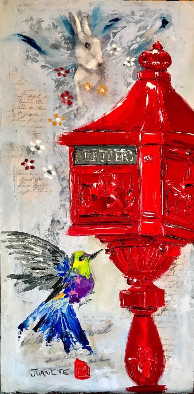 Sweet letters Oil impasto on board  By Juanette Menderoi