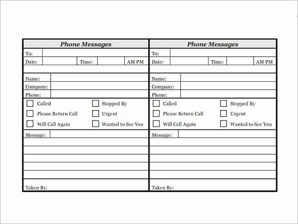 Phone Call Log Template in 2020 | Phone messages ...