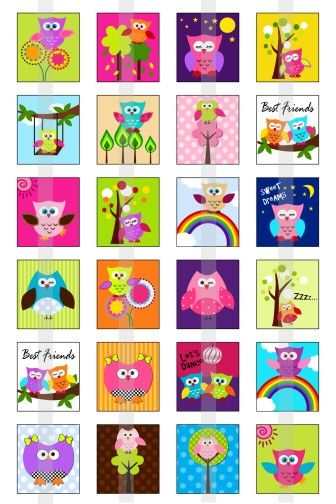 Owls Galore  one 4x6 inch digital sheet of by creativexpressions1, $1.75