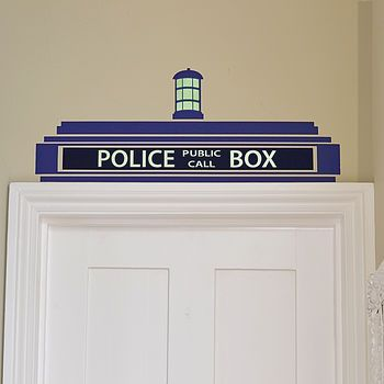 Police Box / 'TARDIS' Wall Sticker, the text and lightbulb GLOW IN THE DARK!!