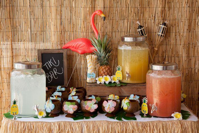 Hawaiian Luau Tiki Bar...for the pink flamingo party