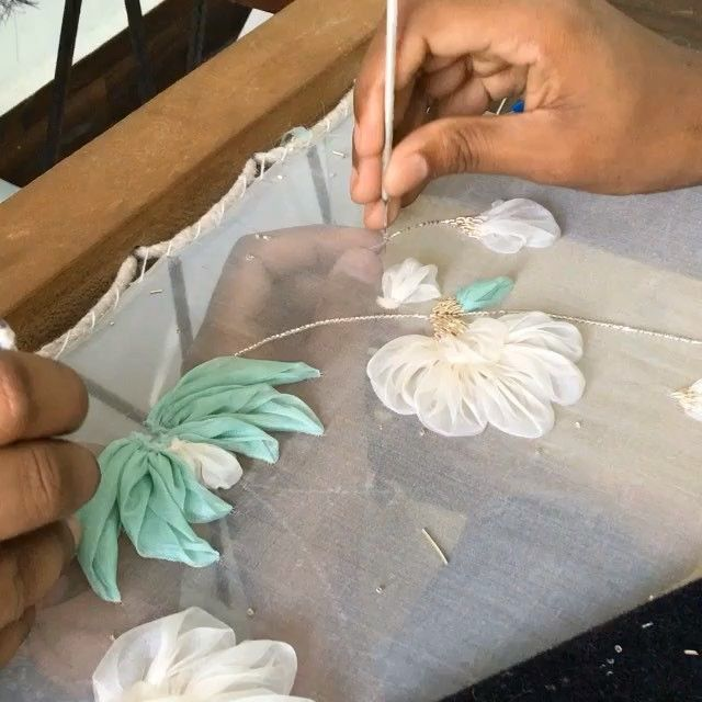 """271 Likes, 13 Comments - Studio Non Sequitur (@studiononsequitur) on Instagram: """"Busy embroiders working on a client order of @tusharbhartiya #embellished silk linen #dress. #Silk…"""""""