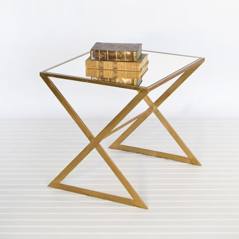 X Side Table Gold. X Side Table In Gold Leaf With Mirror Top. Also