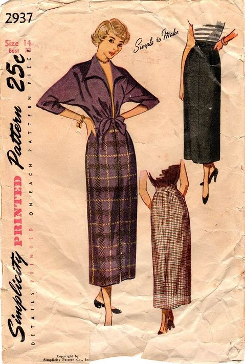"""Simplicity 2937. 1949 Jacket and Skirt. Bust 32"""". Original. Complete (however instruction sheet is missing)."""