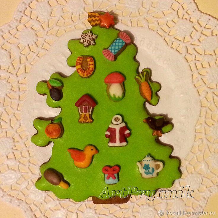 Купить Новогодняя имбирная елка с игрушками, нано-пряники, Новый год 2018, gingerbread Christmas tree with nano-cookies.