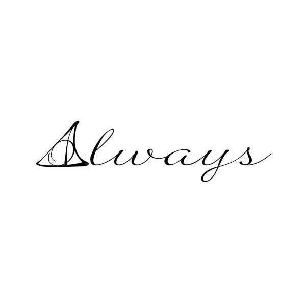 Harry Potter Deathly Hallows Symbol Always Quote Wall Decal Custom... ❤ liked on Polyvore featuring harry potter