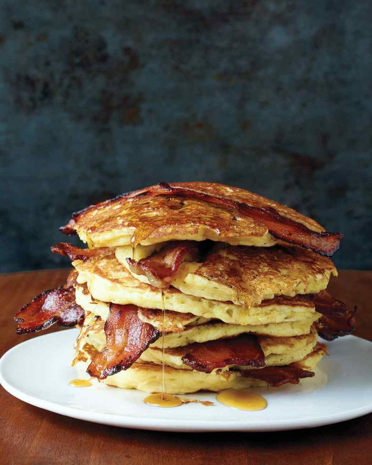 Bacon Pancakes - Flour, sugar, baking powder, baking soda, salt, buttermilk, unsalted butter, egg, bacon, maple syrup.