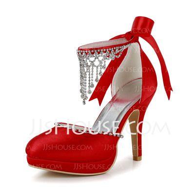 Sapatos de casamento - $49.99 - Mulher Cetim Salto cone Fechados Plataforma Bombas com Perolização Imitação de diamante (047005114) http://jjshouse.com/pt/Mulher-Cetim-Salto-Cone-Fechados-Plataforma-Bombas-Com-Perolizacao-Imitacao-De-Diamante-047005114-g5114