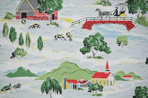 1940's Vintage Wallpaper Kitchen Pattern Charming Farm Scenes