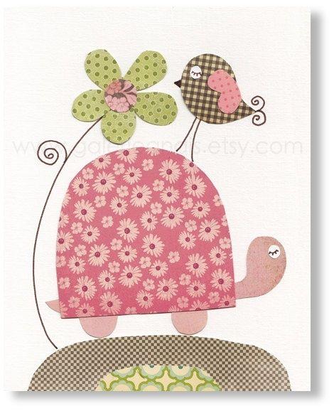 Illustration pour chambre d'enfant fille et Tortue Oiseaux Fleurs