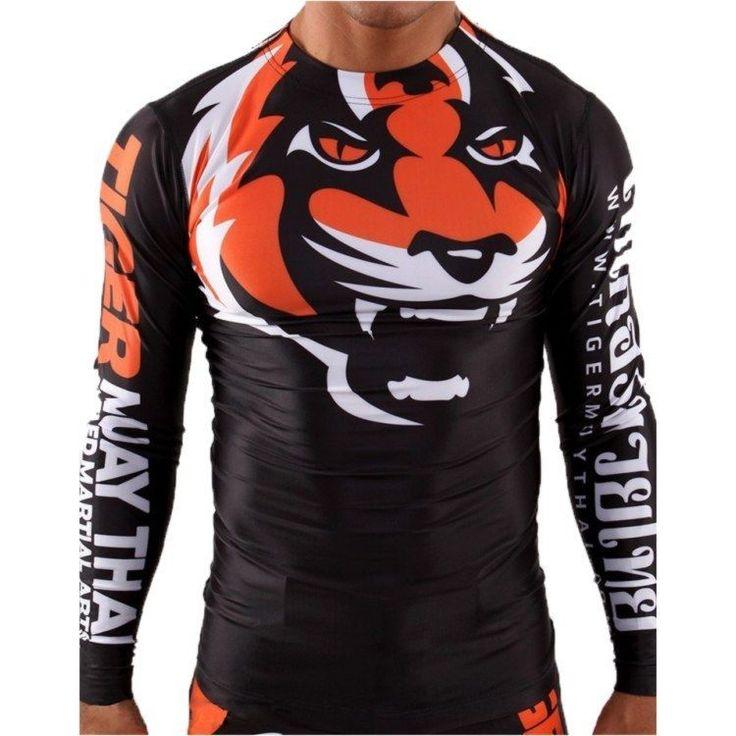 Tiger Muay Thai Elastic MMA Shirt Bodybuilding Martial Boxing T-Shirt Clothes