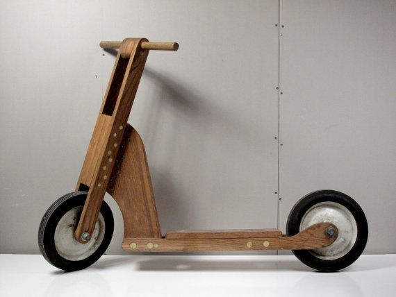 Vintage Hand-made Wooden Scooter, DIY, Popular Mechanics, Toy, Heavy Duty, Oak via CathodeBlue on Etsy, 150.00 http://www.etsy.com/shop/cathodeblue