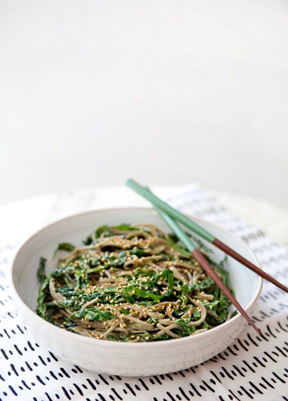 KALE NOODLE BOWL WITH AVOCADO MISO DRESSING - a house in the hills
