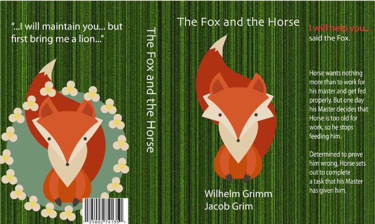 The Fox and the Horse children's book cover (original Grimm Brother's tales)
