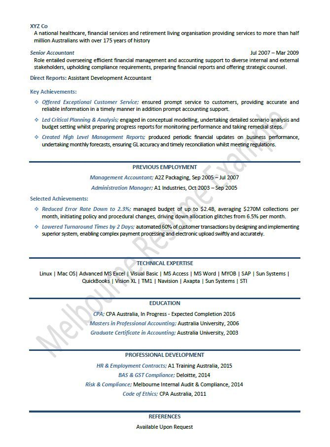 Big 4 Cv Template Accountant Resume Project Manager Resume Resume Template Australia