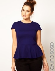Navy Peplum Top. This would go really well with the black Second Denim Yoga Jeans skinnies. Totally cute.