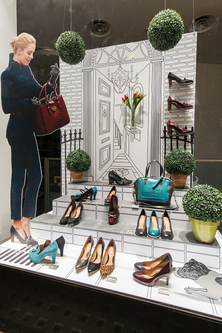 Clever window display that looks hand drawn; uses paper cut-out silhouette | Clarks | Autumn/Winter, 2013 by Millington Associates | #windowdisplay #visualmerchandising