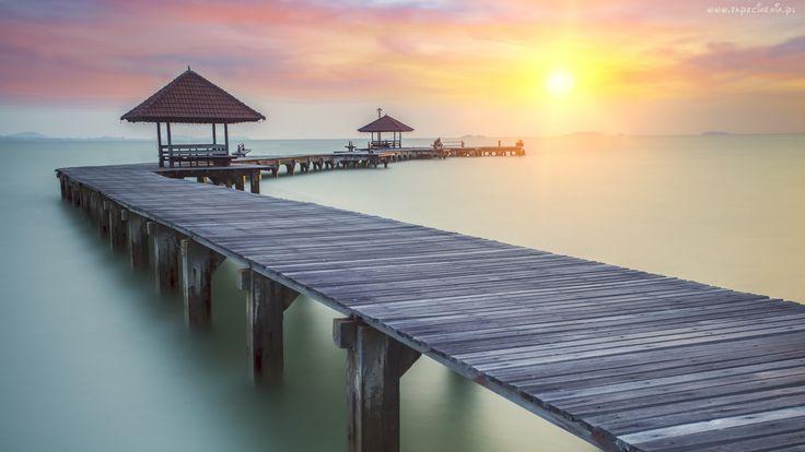 Molo, Morze, Mgła, Wschód, Słońca