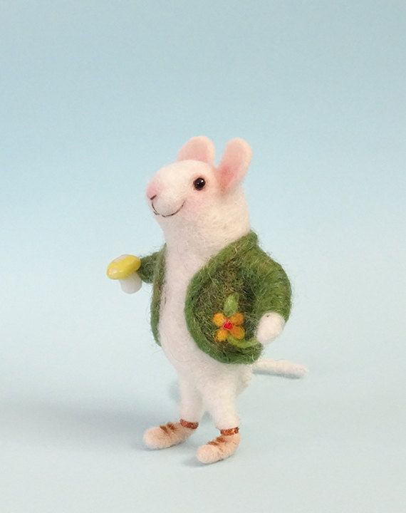 Needle Felted Mouse Mouse With Mushroom Home Decoration