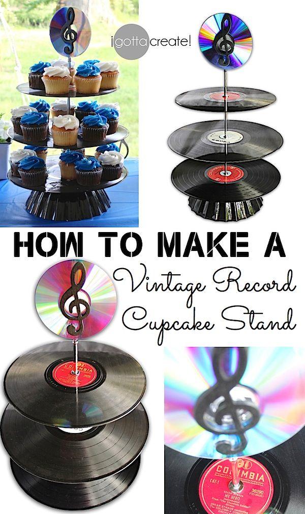 Vinyl Record Cupcake Stand Tutorial