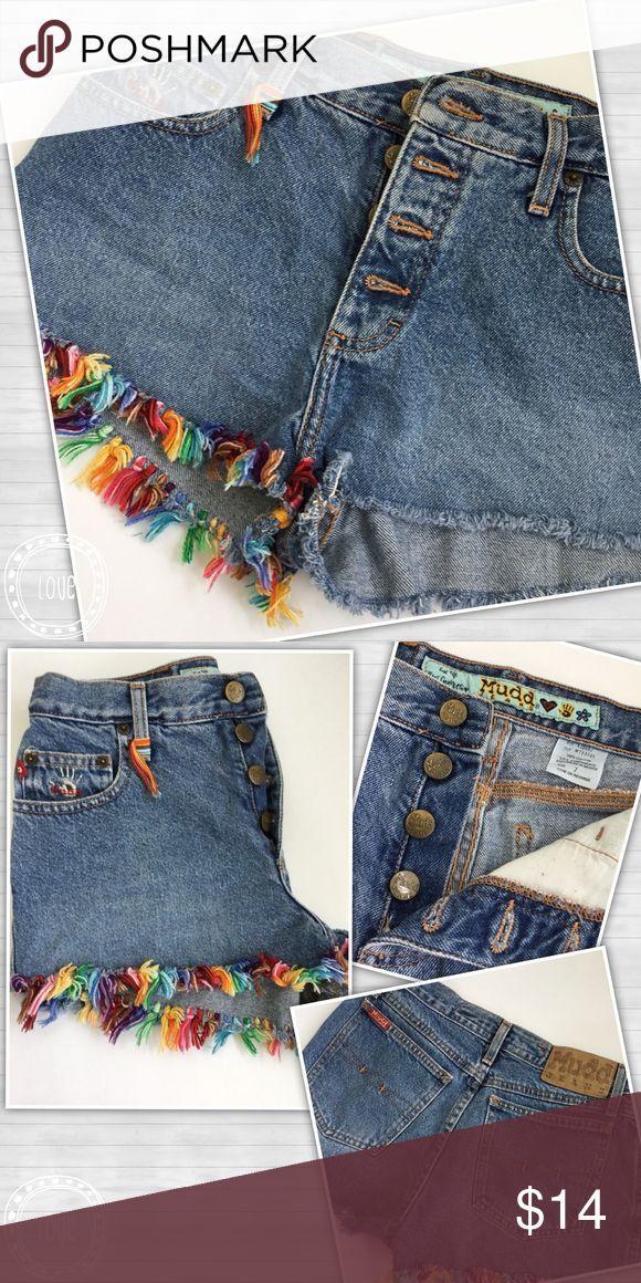 Mudd Denim Shorty Shorts Bunte Fransen 5 Taschen F…