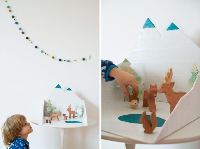 winter-forrest-diorama for wooden animals!