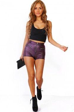 eggplant purple metallic zip up hot pant shorts