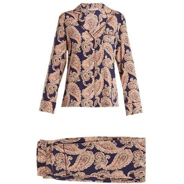 Stella McCartney Lingerie Poppy Snoozing paisley-print pyjama set (£280) ❤ liked on Polyvore featuring intimates, sleepwear, pajamas, multi, paisley pajamas and stella mccartney