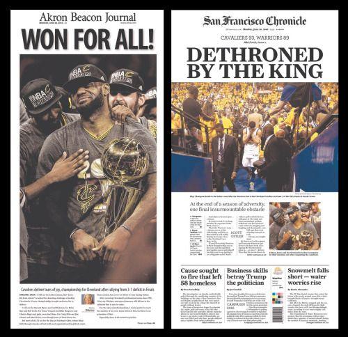 Capas dos jornais de Akron (Ohio) e São Francisco (Califórnia).