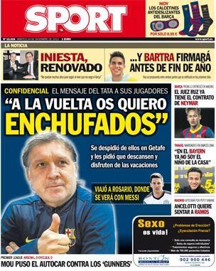 #Portada SPORT martes 24 de diciembre 2013 #FCBarcelona #Barça #Barcelona #igersFCB #Martino