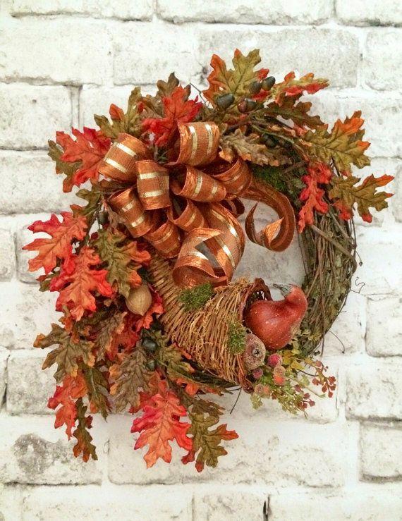 Cornucopia Wreath, Fall Wreath for Door, Thanksgiving Wreath, Thanksgiving Decor, Fall Decor, Autumn Wreath Decor,Fall Door Wreath,Grapevine
