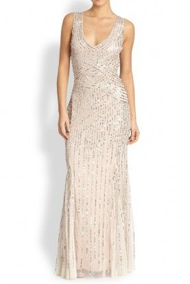 aidan Mattox Sequin Beaded Tulle Dress Gown in Linen Champagne