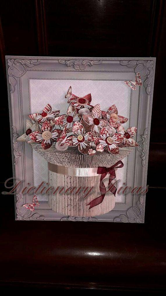 Framed Vase of Everlasting Flowers by DictionaryDivas on Etsy
