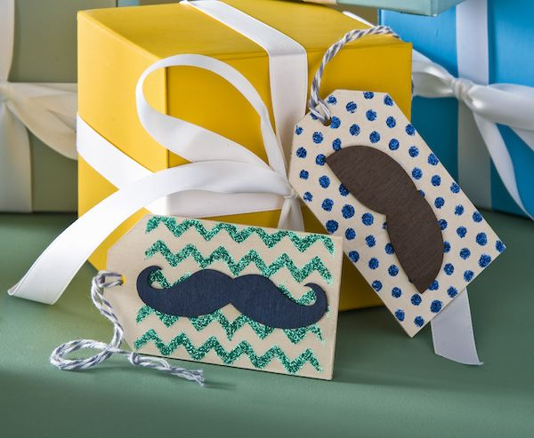 Mustache crafts - wood glitter gift tags