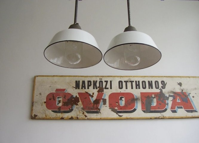 Old industrial glazed lamps